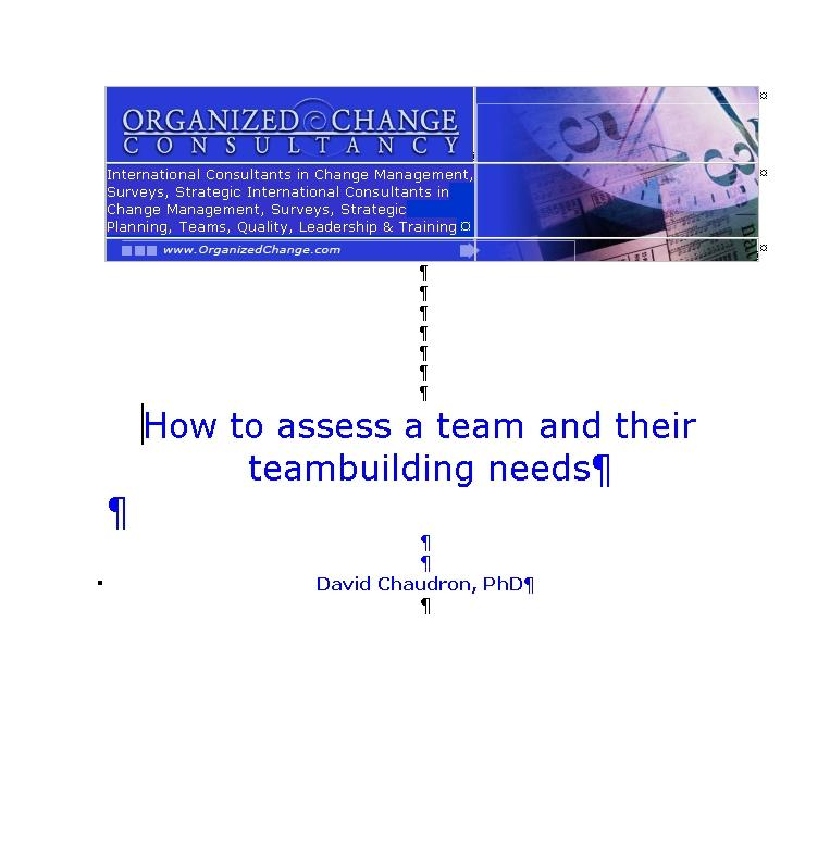 How to Assess a Team and their Teambuilding Needs EB9780972362658