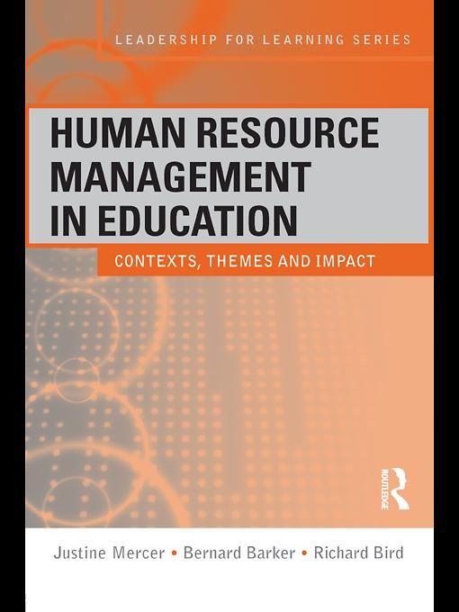 Human Resource Management in Education EB9780203850817