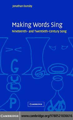 Making Words Sing EB9780511207181