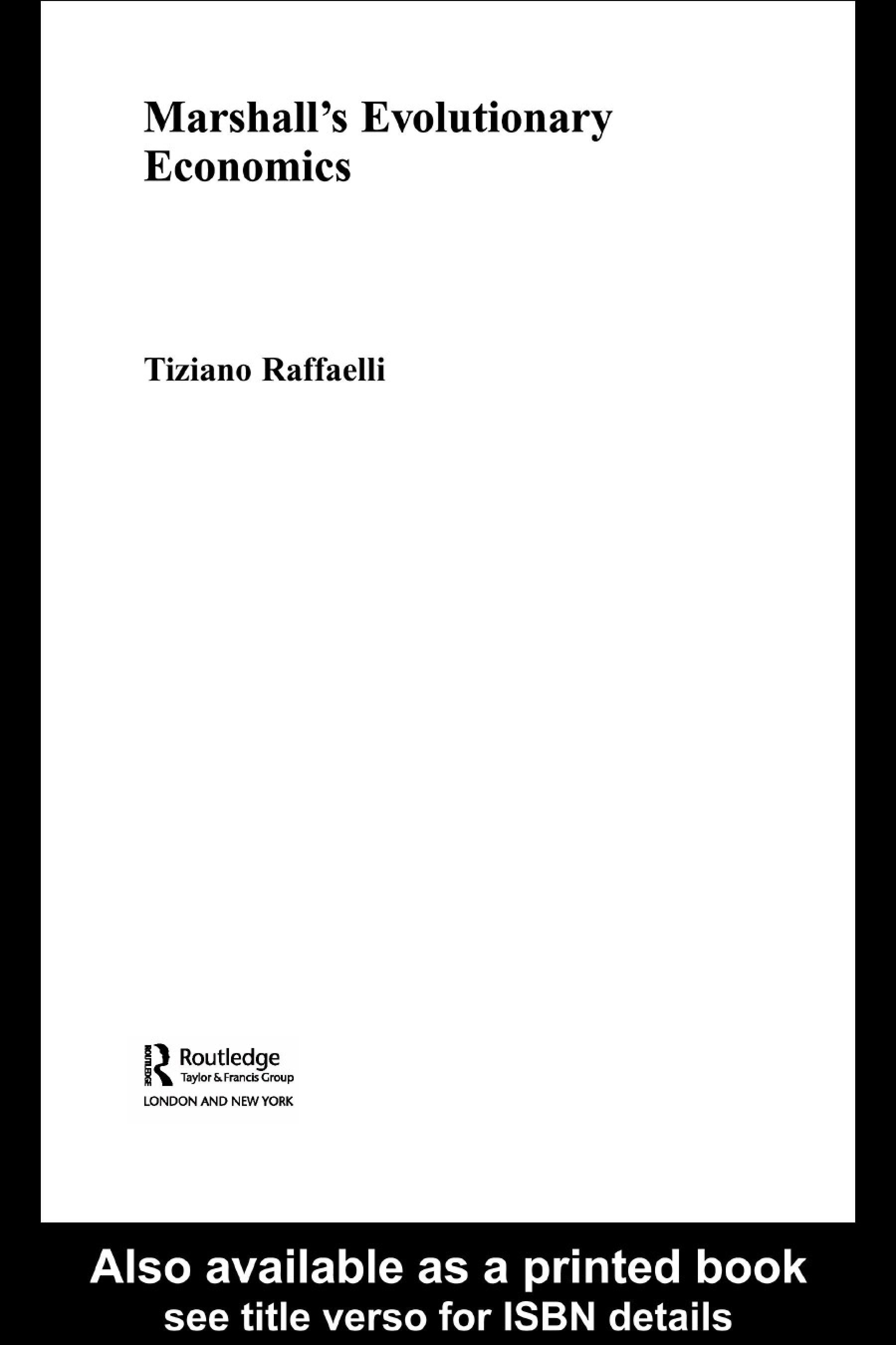 Marshall's Evolutionary Economics EB9780203117286