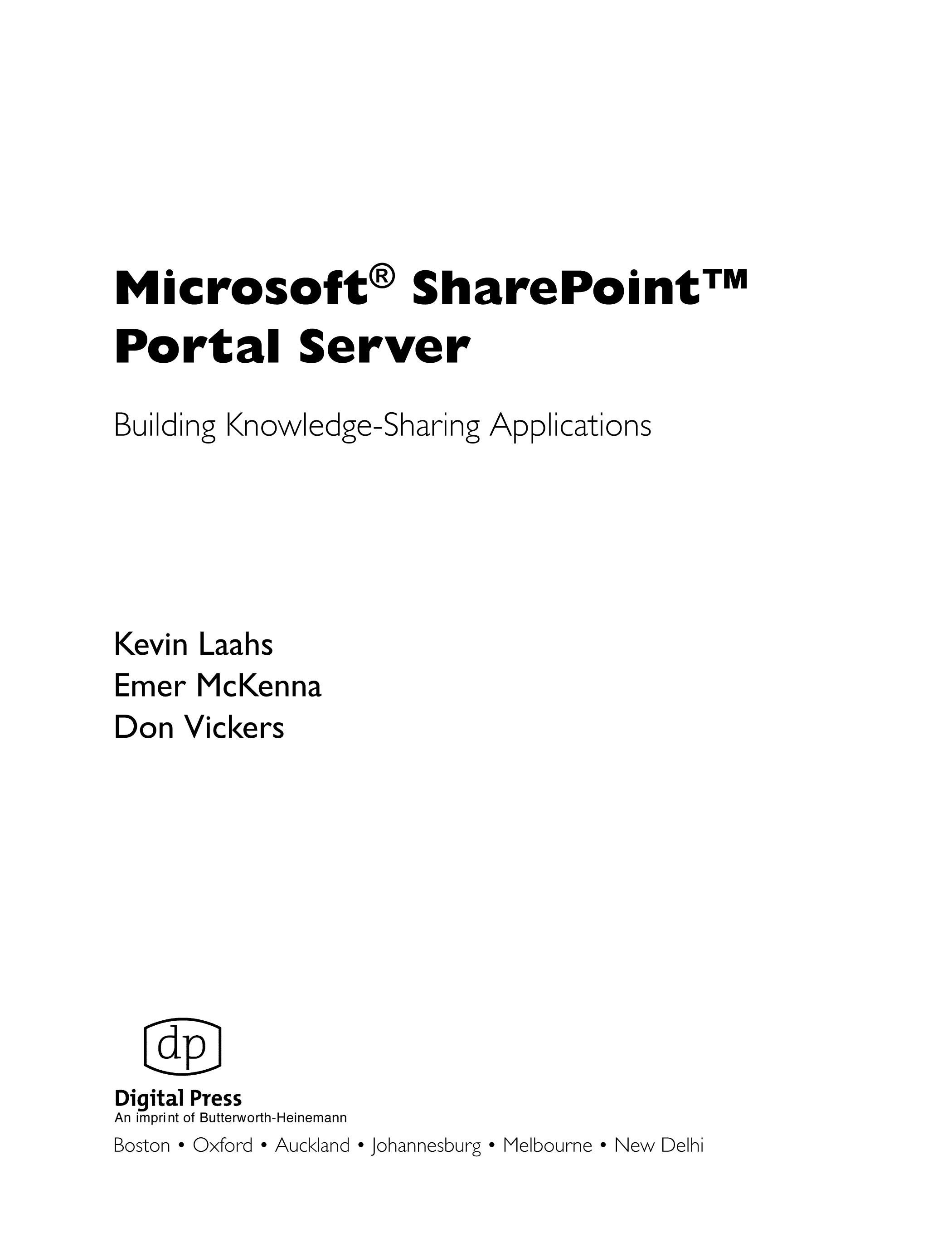 Microsoft SharePoint Portal Server: Building Knowledge Sharing Applications EB9780080479439