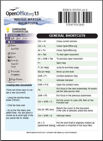 OpenOffice - Writer Master Shortcuts