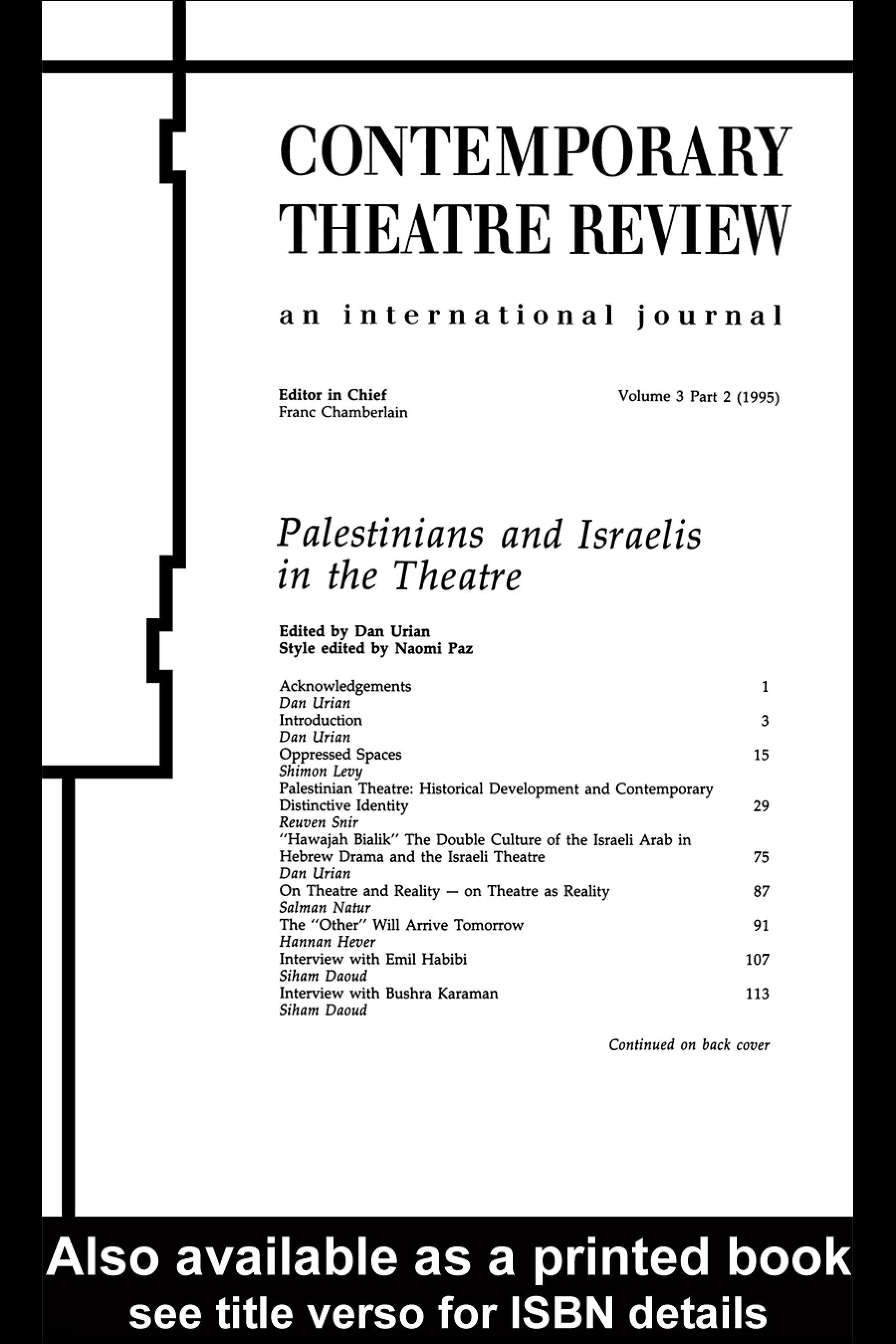 Palestinians and Israelis in the Theatre EB9780203985205