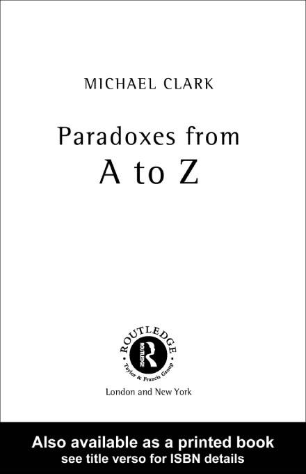 Paradoxes from A to Z EB9780203774168
