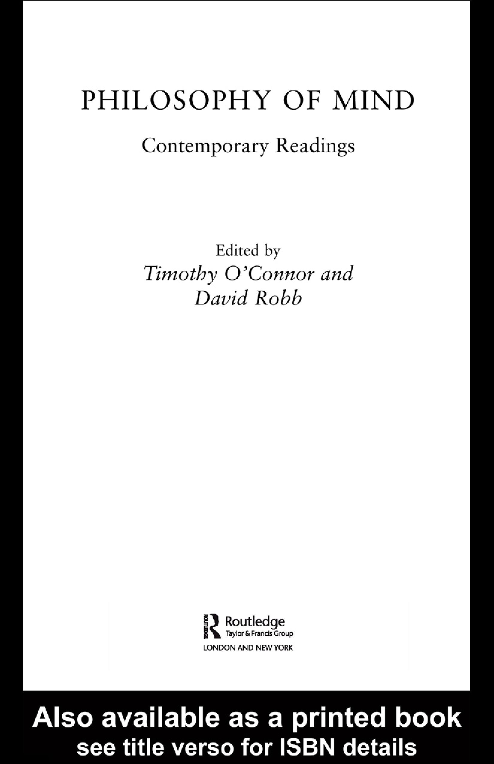 Philosophy of Mind: Contemporary Readings EB9780203987698