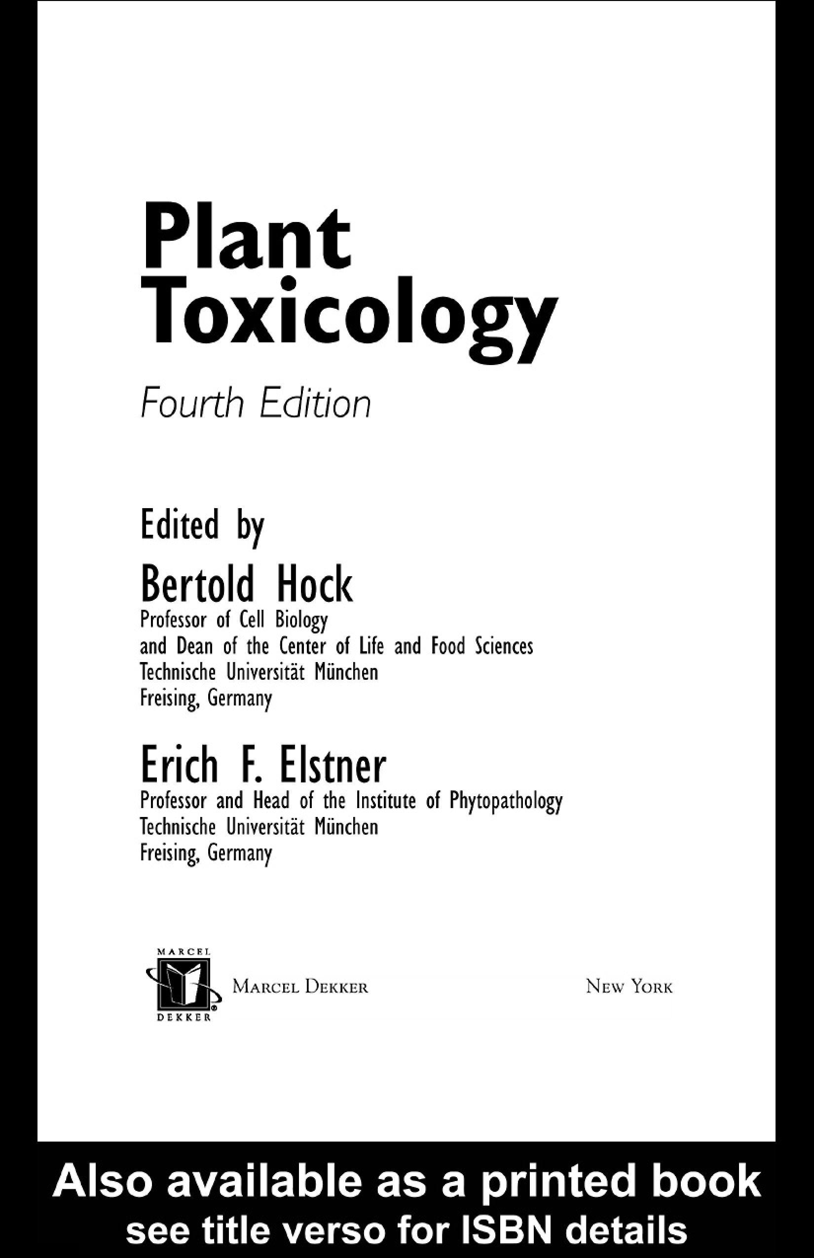 Plant Toxicology, Fourth Edition EB9780203023884