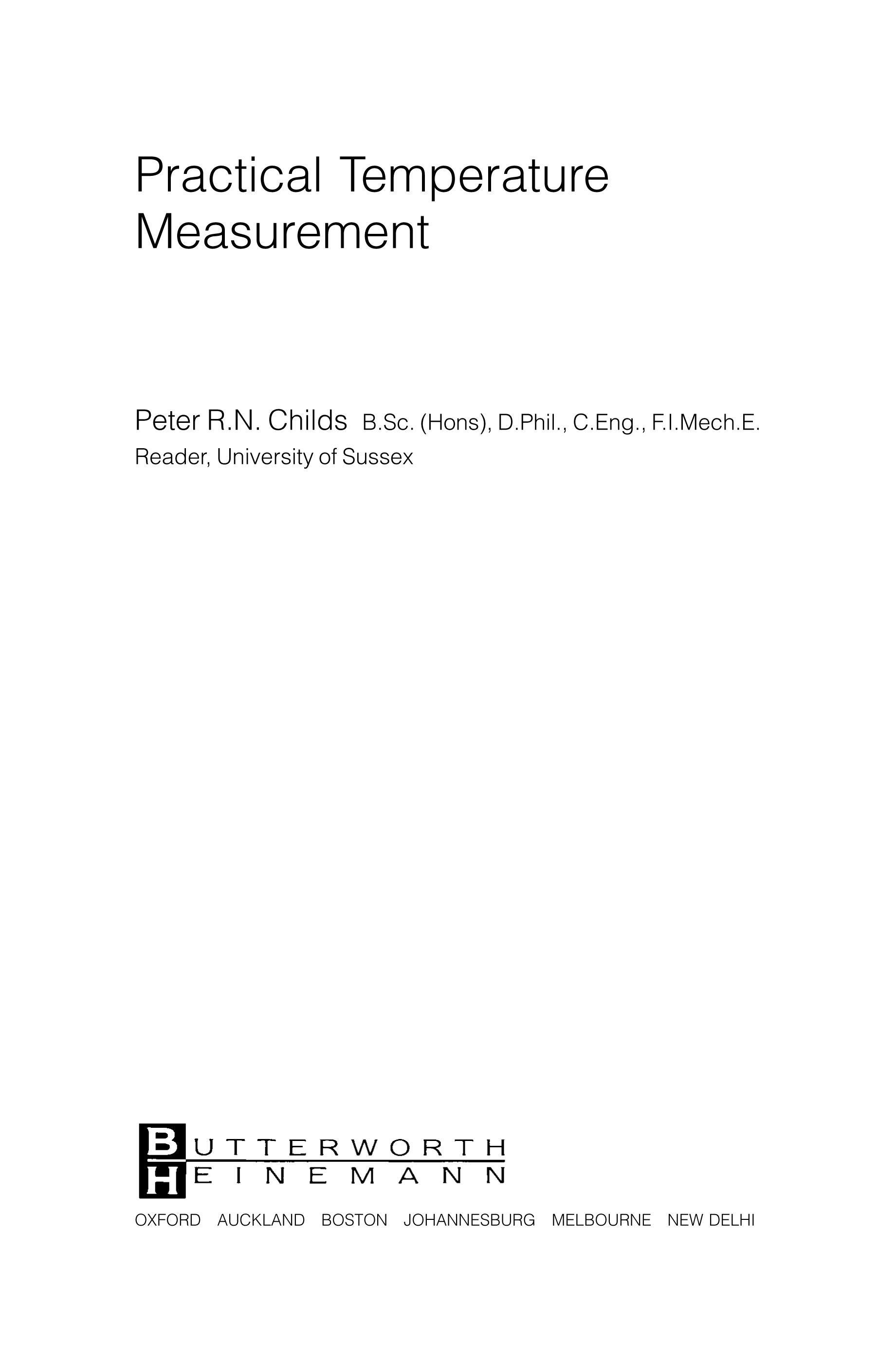 Practical Temperature Measurement EB9780080480275