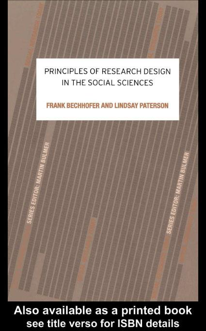 Principles of Research Design in the Social Sciences EB9780203182796