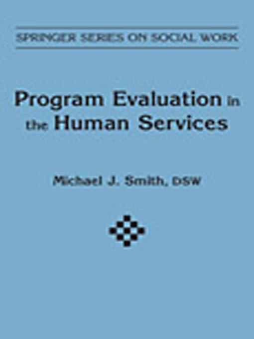 Program Evaluation in Human Services EB9780826197795