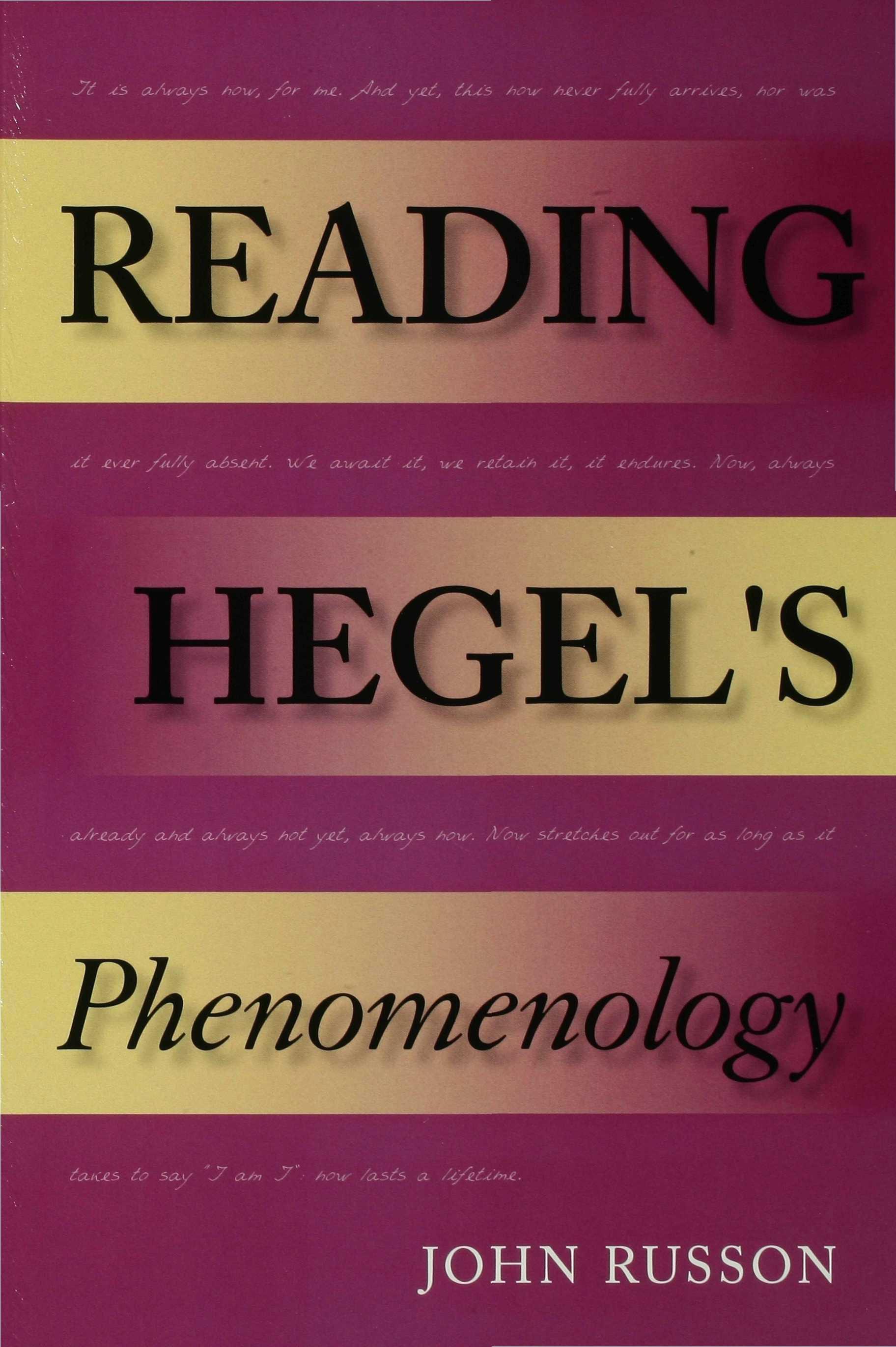 Reading Hegel's Phenomenology EB9780253110374
