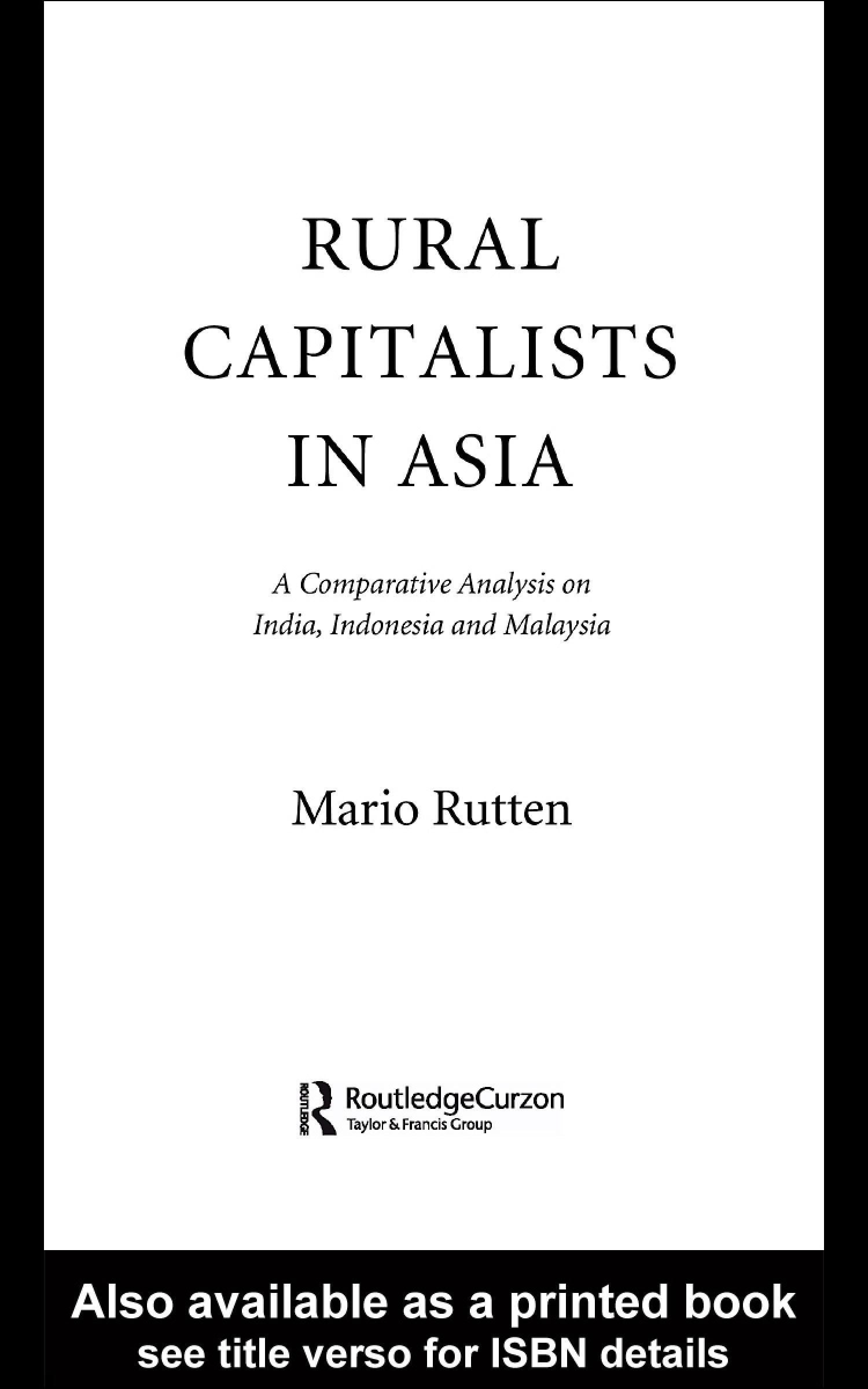 Rural Capitalists in Asia: A Comparative Analysis on India, Indonesia and Malaysia EB9780203987117