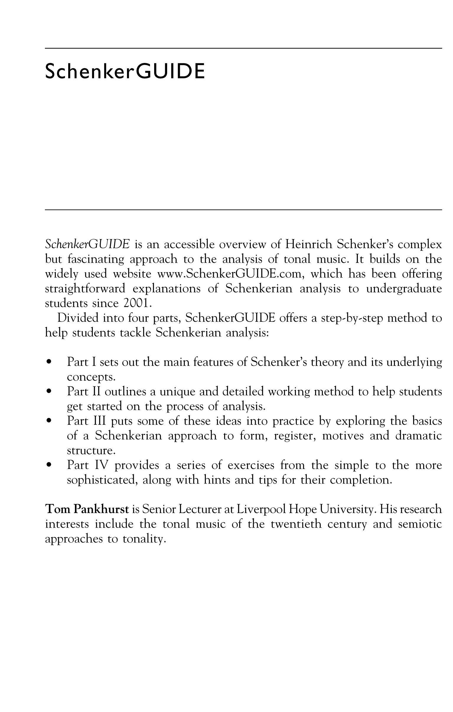 SchenkerGUIDE: A Brief Handbook and Website for Schenkerian Analysis EB9780203928882