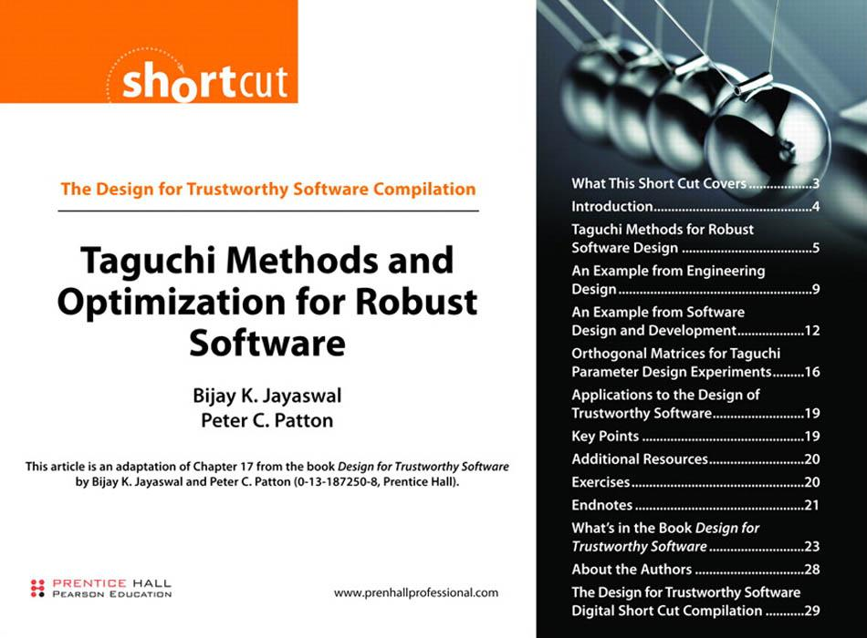 Taguchi Methods and Optimization for Robust Software EB9780132351331