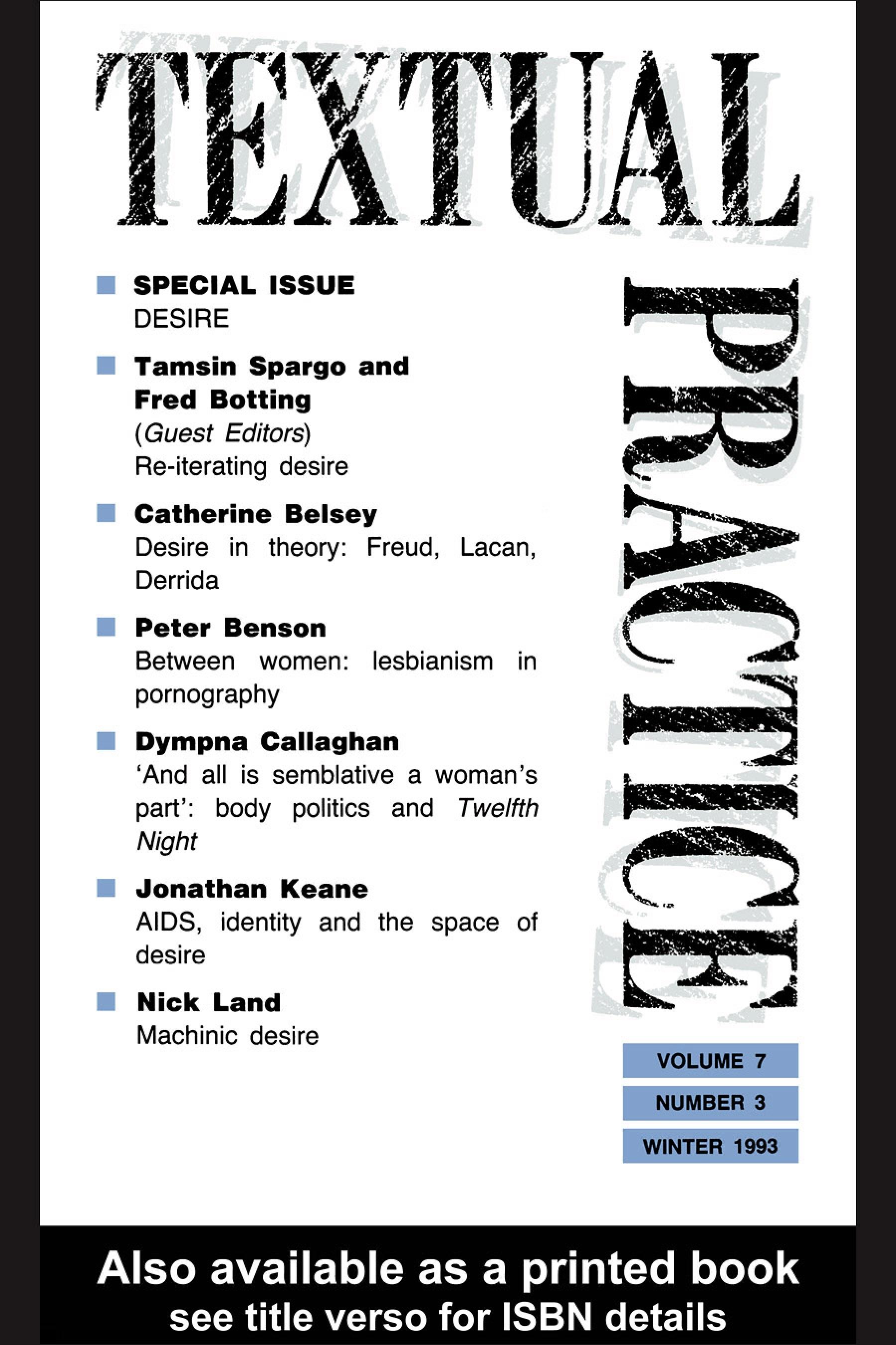 Textual Practice: Volume 7, Issue 3: Special Issue: Desire EB9780203990926