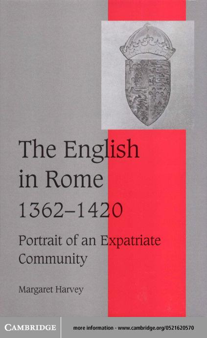 The English in Rome, 1362?1420 EB9780511035050