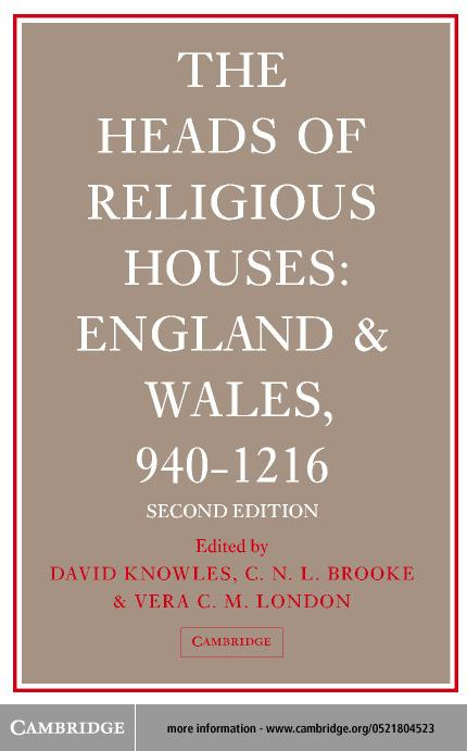The Heads of Religious Houses EB9780511028724