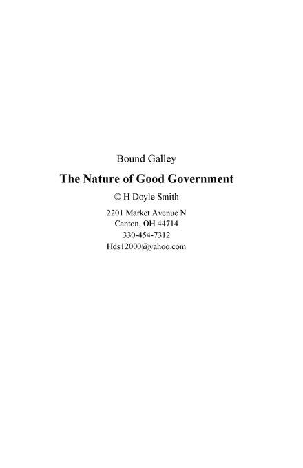 The Nature of Good Government EB9780964789166