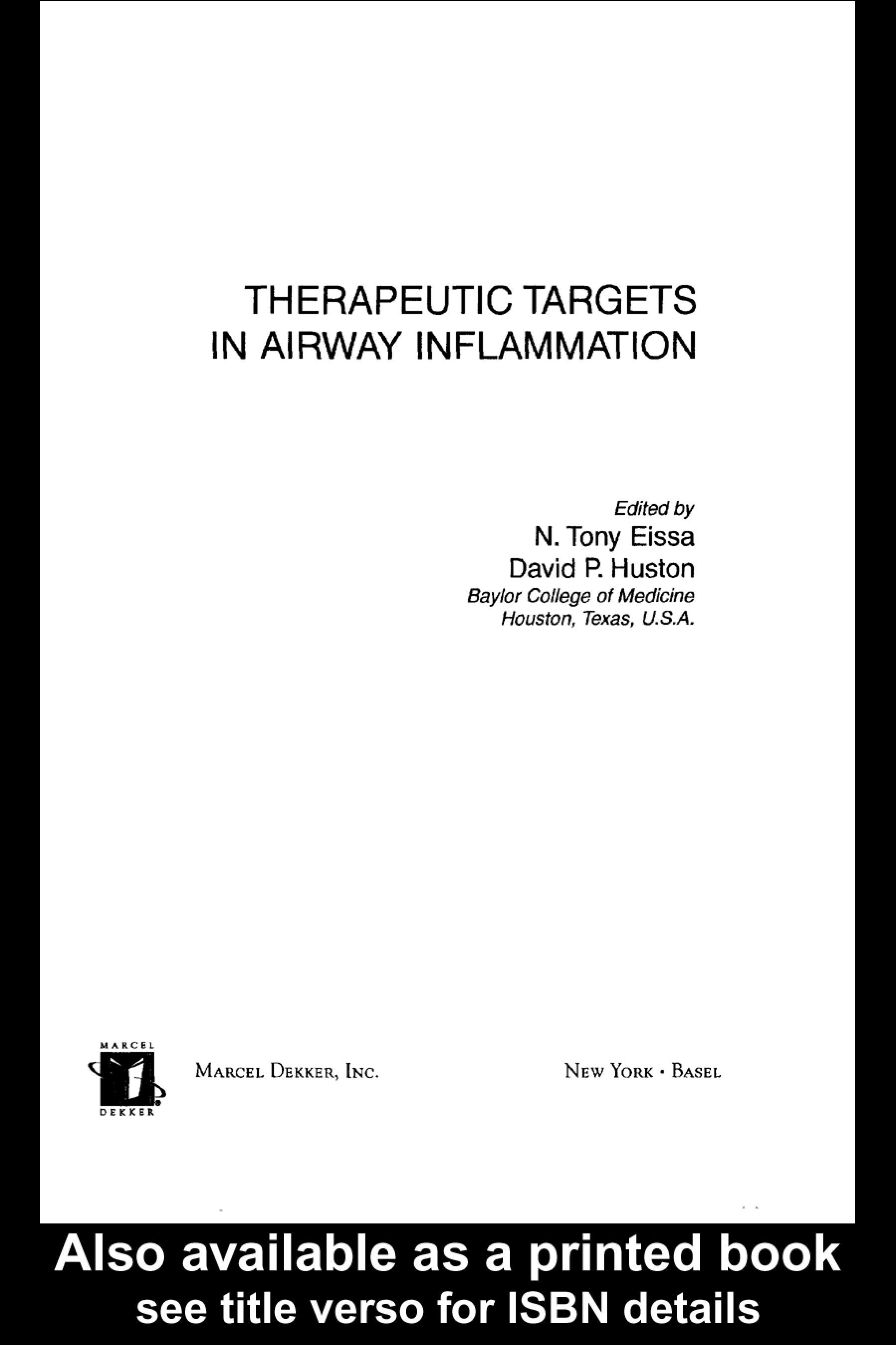 Therapeutic Targets In Airway Inflammation EB9780203911471