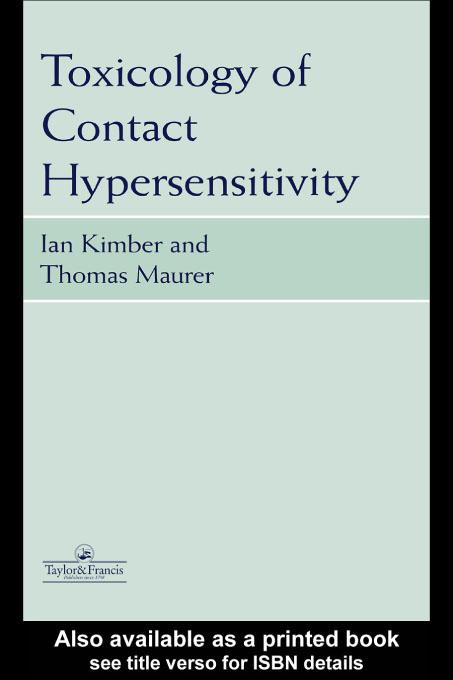 Toxicology of Contact Hypersensitivity EB9780203790984