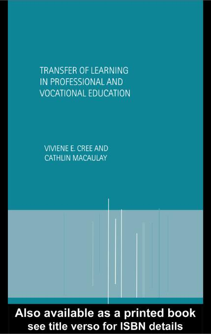 Transfer of Learning in Professional and Vocational Education EB9780203183076