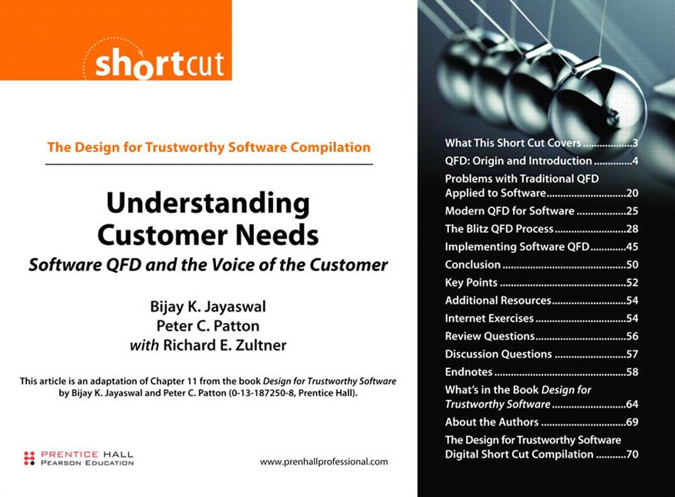 Understanding Customer Needs: Software QFD and the Voice of the Customer EB9780132351348