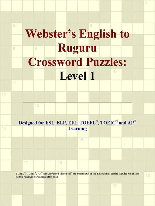 Webster's English to Ruguru Crossword Puzzles: Level 1 EB9780497831929