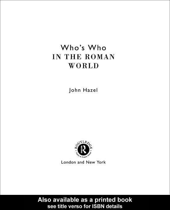Who's Who in the Roman World EB9780203445983