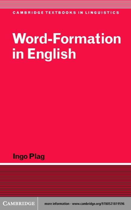 Word-Formation in English EB9780511075322