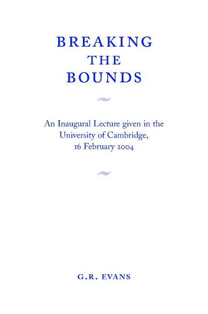 Breaking the Bounds EB9781139118415