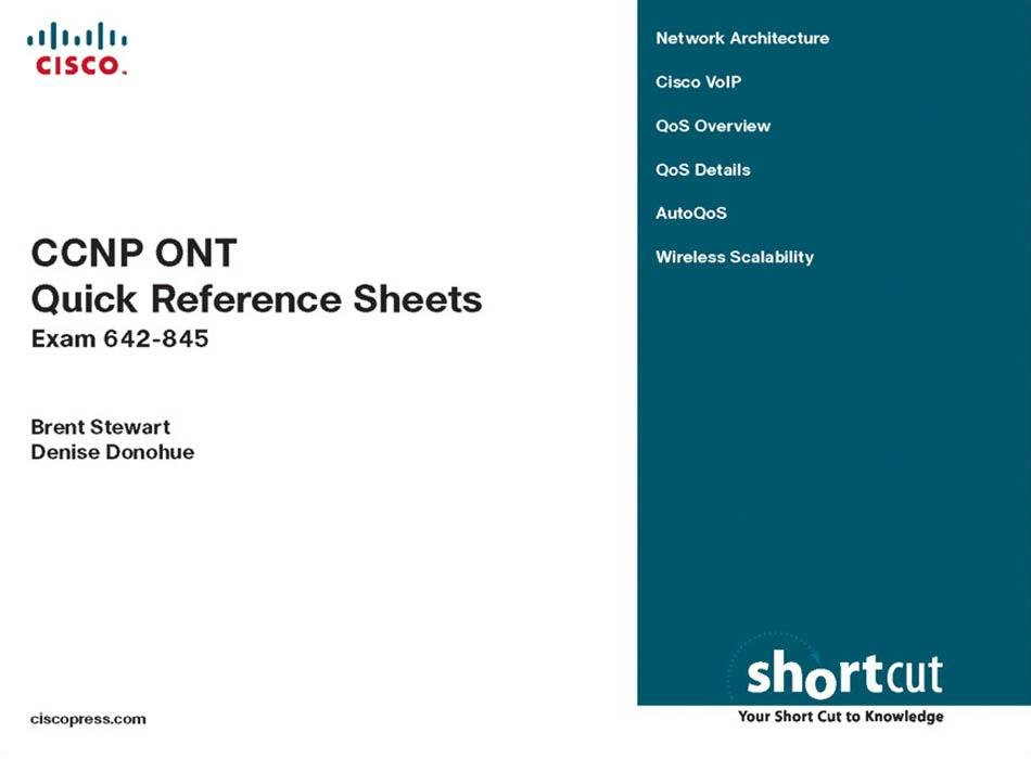 CCNP ONT Quick Reference Sheets: Exam 642-845 (Digital Short Cut), 1/e) EB9781587053153