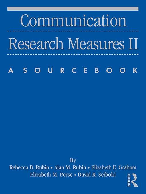 Communication Research Measures II EB9781135231439