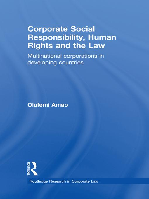 Corporate Social Responsibility, Human Rights and the Law EB9781136715891