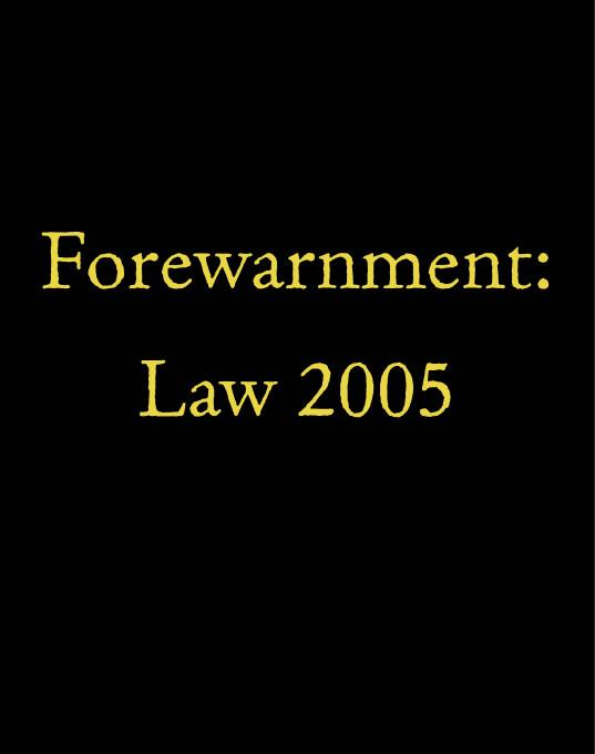 Forewarnment: Law 2005 EB9781412204552