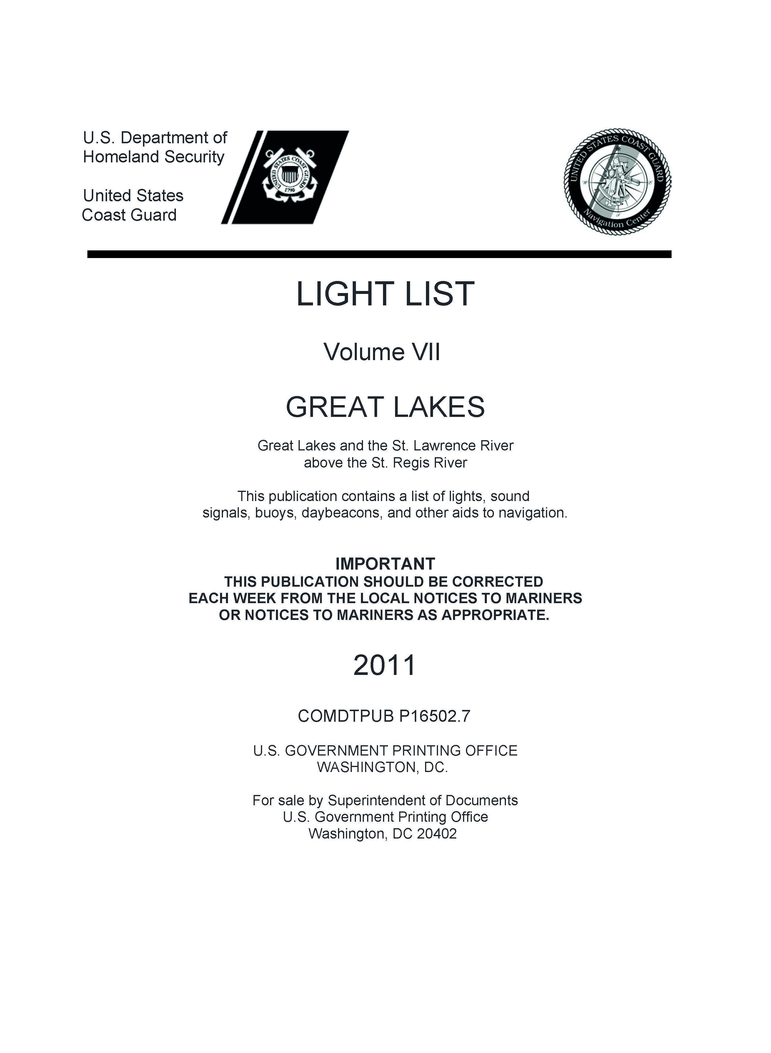LIGHT LIST Volume 7 GREAT LAKES  Great Lakes and St Lawrence River above the St Regis River EB9781921936586