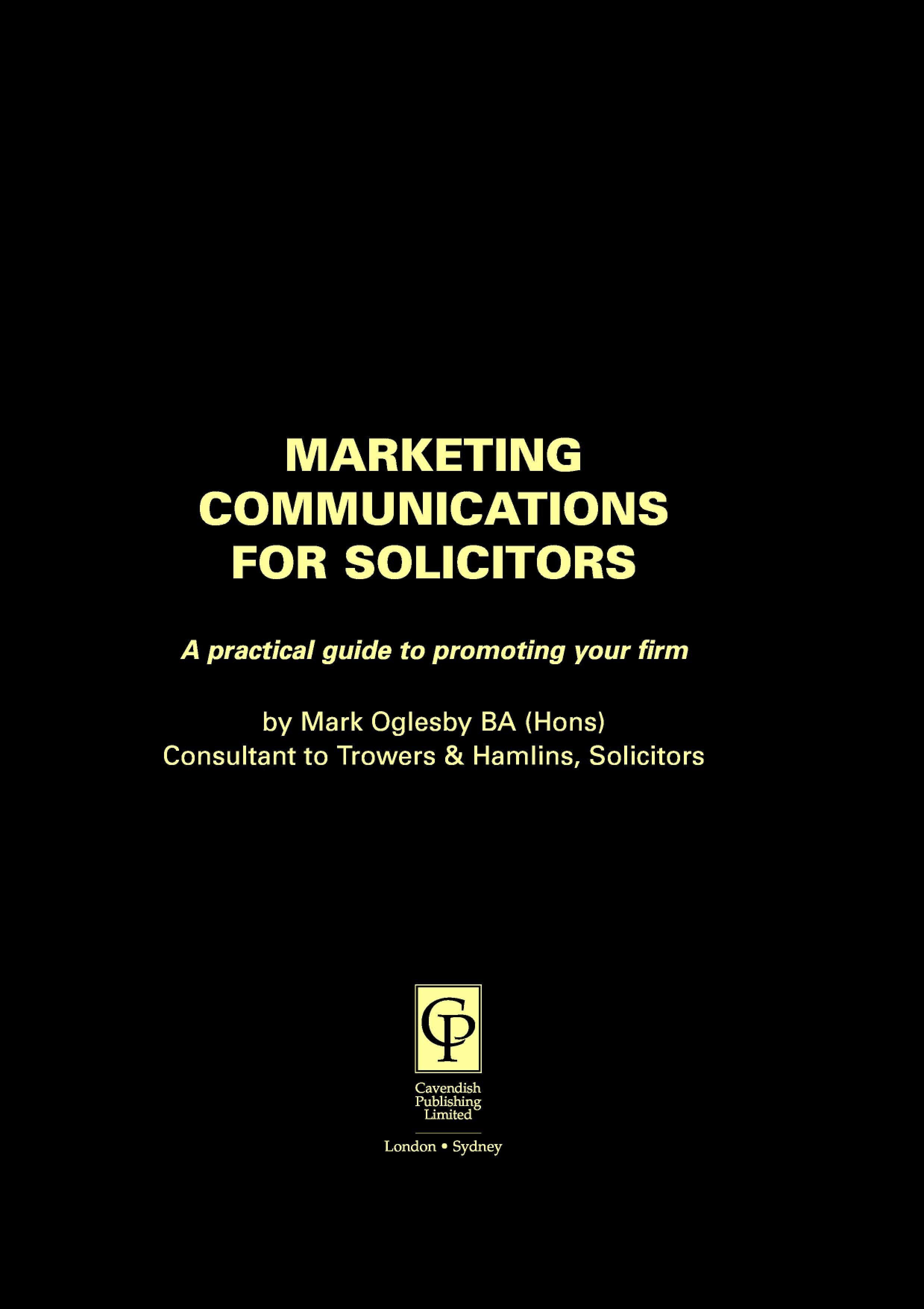 Marketing Communications for Solicitors EB9781843143369