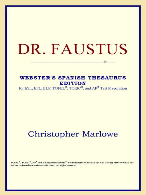 Dr. Faustus (Webster's Spanish Thesaurus Edition) EB9785551551638