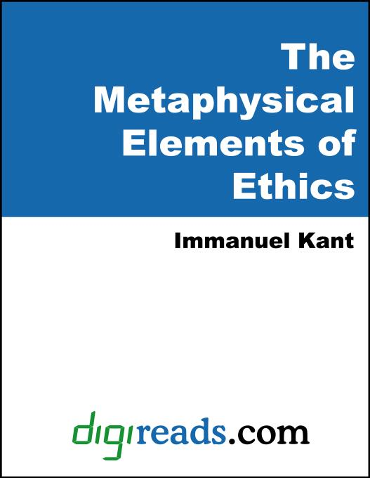 The Metaphysical Elements of Ethics EB9785551383994