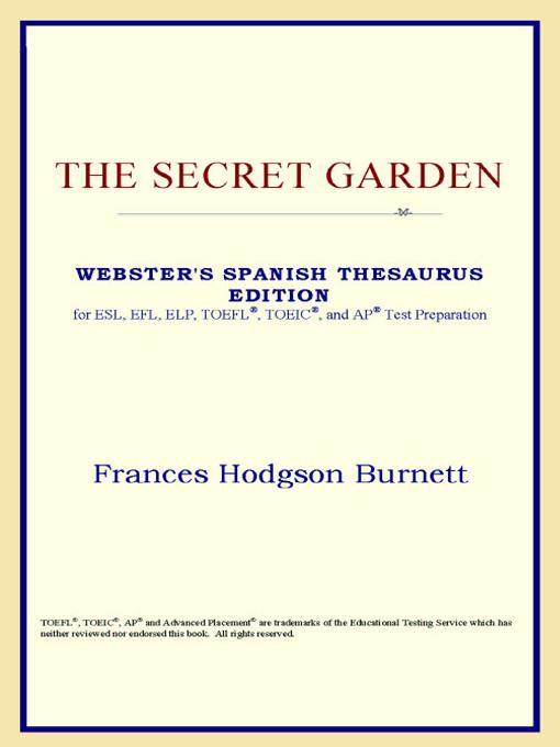 The Secret Garden (Webster's Spanish Thesaurus Edition) EB9785551551843