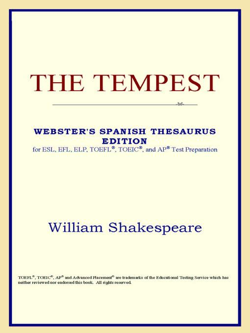 The Tempest (Webster's Spanish Thesaurus Edition) EB9785551552956
