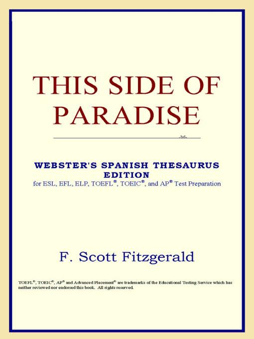 This Side of Paradise (Webster's Spanish Thesaurus Edition) EB9785551551829