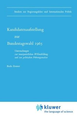 Kandidatenaufstellung Zur Bundestagswahl 1965 9789024705061