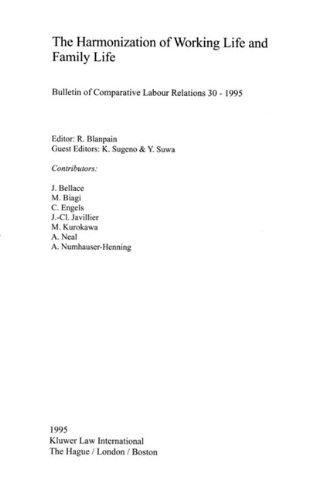 Blanpain Harmonization of Work 9789041100641
