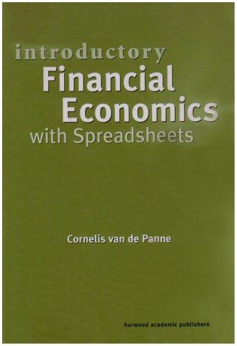Introductory Financial Economics with Spreadsheets - De Panne, Cornelis Van / Van, De Panne / Van De Panne, Co