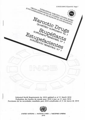Narcotic Drugs: Estimated World Requirements for 2010: Quarterly Supplement No.1 9789210481380